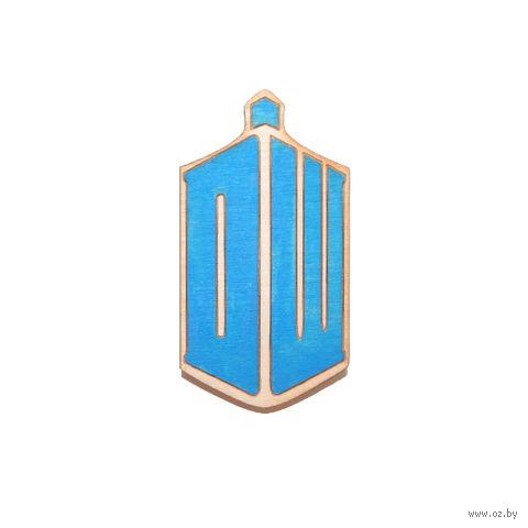 """Значок деревянный """"Доктор кто. DW"""""""