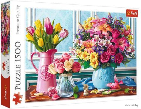 """Пазл """"Цветы в вазах"""" (1500 элементов) — фото, картинка"""