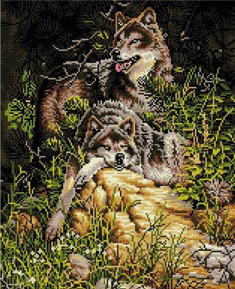 "Алмазная вышивка-мозаика ""Семейство волков"" (400х500 мм) — фото, картинка"