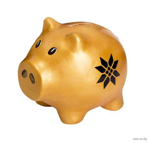 """Копилка """"Маленькая свинка. Богатство"""" (золотая) — фото, картинка"""
