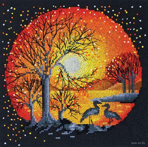 """Вышивка крестом """"Цапли на закате"""" (180x180 мм) — фото, картинка"""