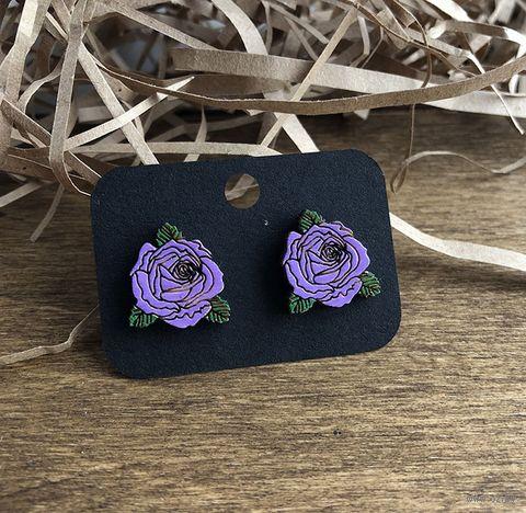 """Серьги """"Фиолетовые розы"""" (арт. 015) — фото, картинка"""