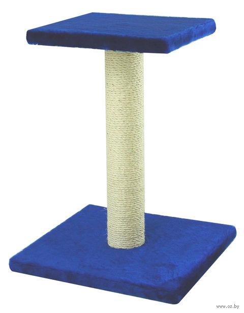 "Когтеточка ""Столбик с полкой"" (40х41х54 см; синяя) — фото, картинка"