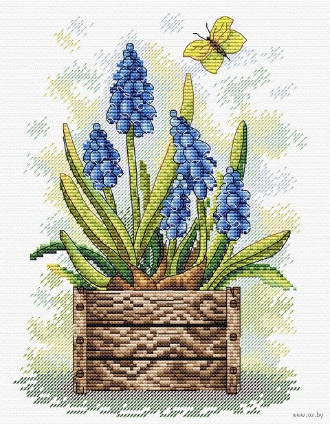 """Вышивка крестом """"Сапфировый цветок"""" (230х180 мм) — фото, картинка"""