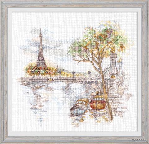 "Вышивка крестом ""Осень в Париже"" (270х250 мм) — фото, картинка"