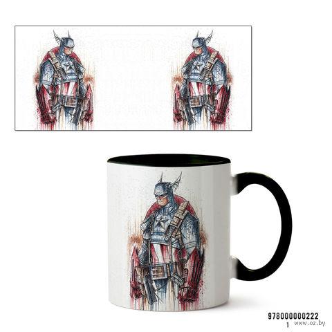 """Кружка """"Капитан Америка из вселенной MARVEL"""" (черная; арт. 0222) — фото, картинка"""