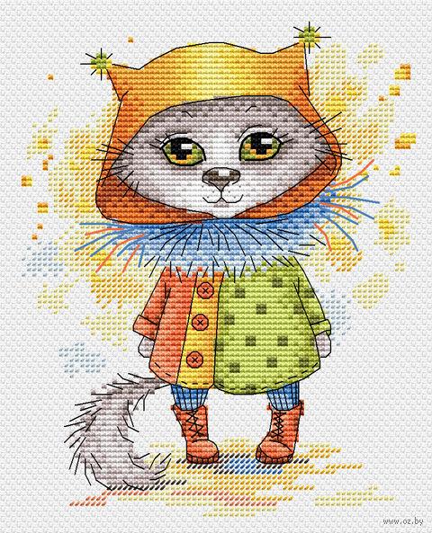 """Вышивка крестом """"Кошка в сапожках"""" (140х180 мм) — фото, картинка"""