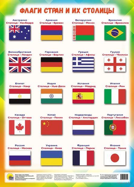 Шпаргалки для малышей. Флаги стран и их столицы — фото, картинка