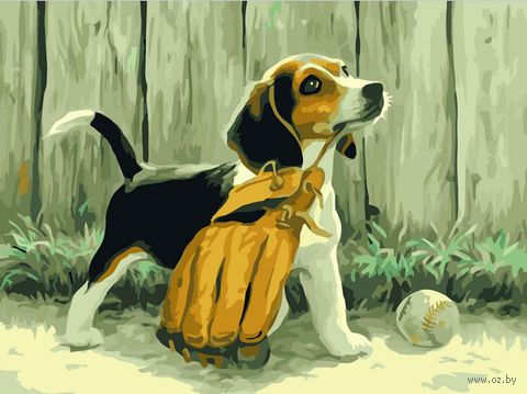 """Картина по номерам """"Щенок бейсболист"""" (400х500 мм)"""