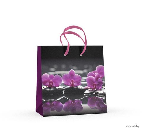 """Пакет бумажный подарочный """"Орхидеи"""" (16,5x16,5x9,2 см) — фото, картинка"""
