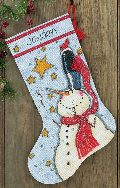 """Вышивка нитью """"Рождественский носок. Снеговик в цилиндре"""" (арт. DMS-70-08924)"""