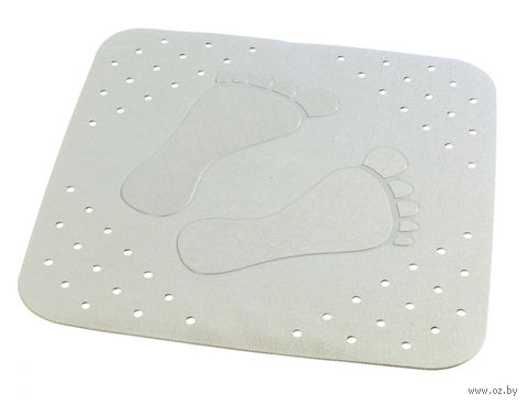 """Коврик для ванной резиновый """"Следы"""" (54х54 см; серый) — фото, картинка"""