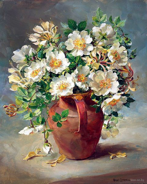 "Картина по номерам ""Белые цветы в кувшине"" (400х500 мм) — фото, картинка"