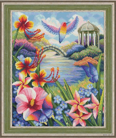 "Алмазная вышивка-мозаика ""Цветущий сад"" (400х500 мм) — фото, картинка"