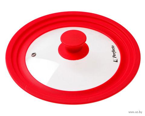 Крышка стеклянная с силиконовым ободом (20-22-24 см; красная) — фото, картинка