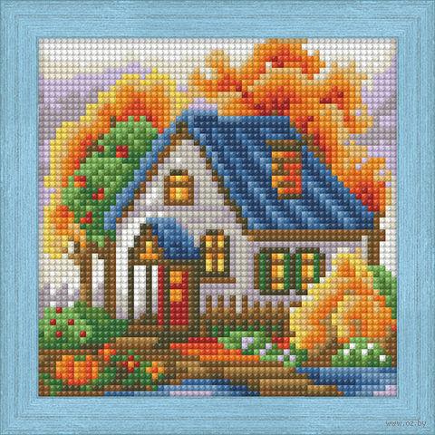 "Алмазная вышивка-мозаика ""Осенний домик"" (150х150 мм) — фото, картинка"