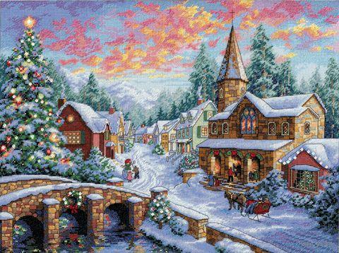 "Вышивка крестом ""Праздничная деревушка"" (300х410 мм) — фото, картинка"