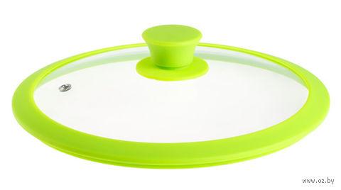 Крышка стеклянная с силиконовым ободом (24 см; зеленая) — фото, картинка