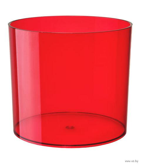 """Цветочный горшок """"Цилиндр"""" (13,5 см; прозрачный красный) — фото, картинка"""