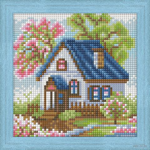 "Алмазная вышивка-мозаика ""Весенний домик"" (150х150 мм) — фото, картинка"