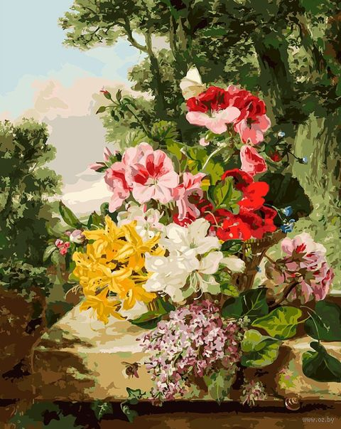 "Картина по номерам ""Цветы в корзинке"" (400х500 мм) — фото, картинка"
