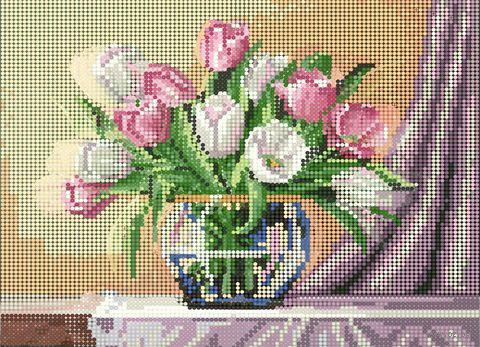 "Алмазная вышивка-мозаика ""Нежные тюльпаны"" (360х260 мм) — фото, картинка"