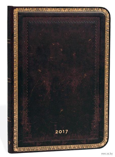 """Еженедельник Paperblanks """"Черная Марокканская кожа"""" на 2017 год (формат: 130x180 мм, миди)"""