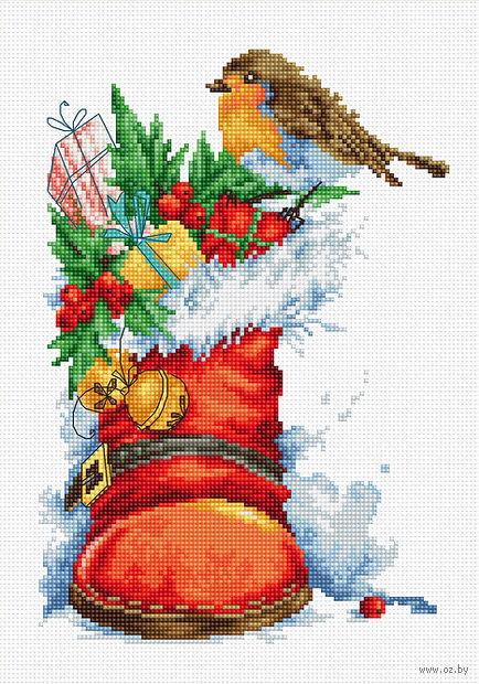 Вышивка крестом на рождественском сапожке
