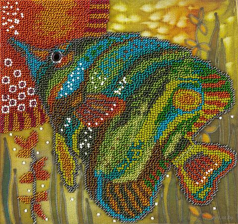 """Вышивка бисером """"Зеленая рыбка"""" (200х200 мм) — фото, картинка"""