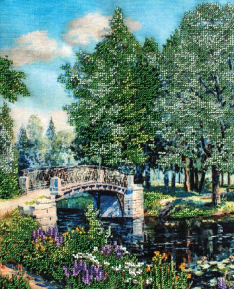 "Вышивка бисером ""Мостик в парке"" (240х300 мм) — фото, картинка"