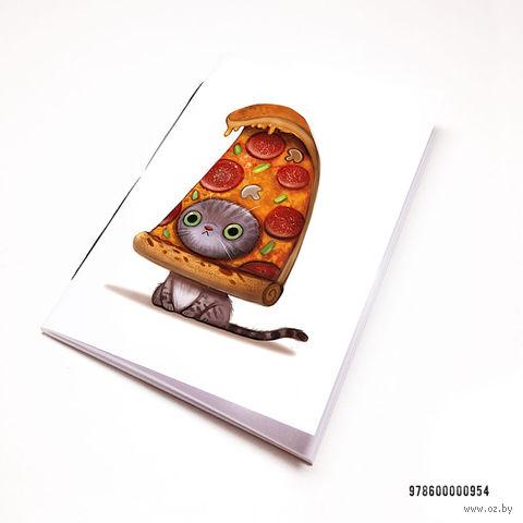 """Блокнот белый """"Кот-пицца"""" А7 (954)"""