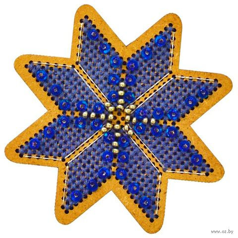"Вышивка крестом ""Новогодняя игрушка. Утренняя звезда"" (75х75 мм) — фото, картинка"