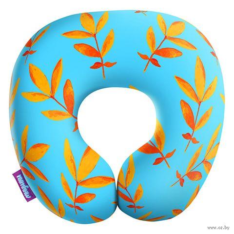 """Подушка под шею """"Листочки. Большие листья"""" (34х34 см; голубая) — фото, картинка"""