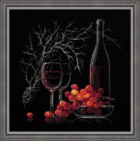 """Вышивка крестом """"Натюрморт с красным вином"""" (300х300 мм) — фото, картинка"""