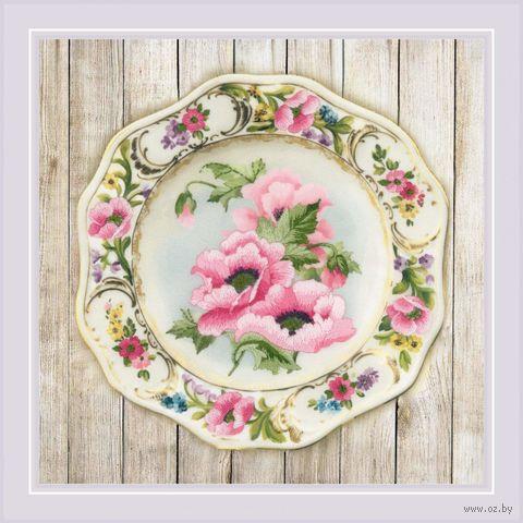"Вышивка гладью ""Тарелка с розовыми маками"" (210х210 мм) — фото, картинка"