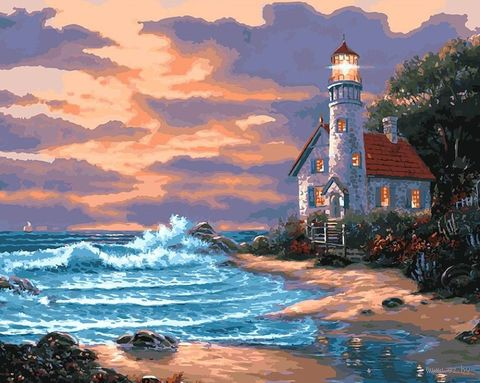 "Картина по номерам ""Дом с маяком"" (400х500 мм) — фото, картинка"