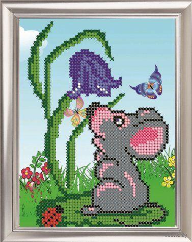 "Вышивка бисером ""Мышка"" (160х120 мм) — фото, картинка"