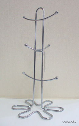 Подставка для чашек металлическая (6 крючков; 165х165х332 мм)