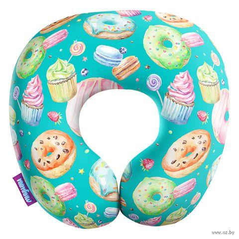 """Подушка под шею """"Пончики"""" (34х34 см; голубая) — фото, картинка"""