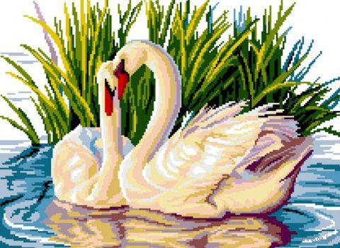 "Вышивка крестом ""Лебеди"" (450x330 мм) — фото, картинка"