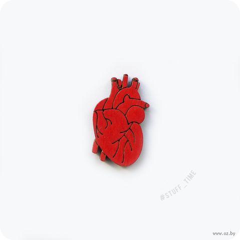 """Значок деревянный """"Анатомическое сердце"""" (арт. 059) — фото, картинка"""