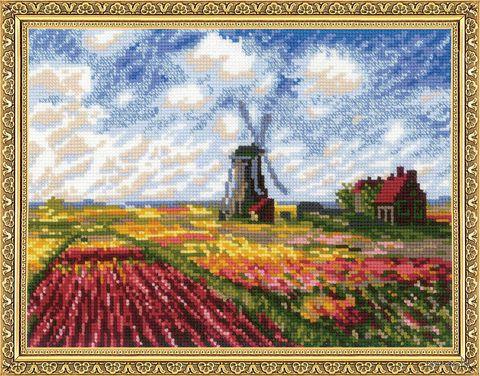"""Вышивка крестом """"Поле с тюльпанами"""" — фото, картинка"""