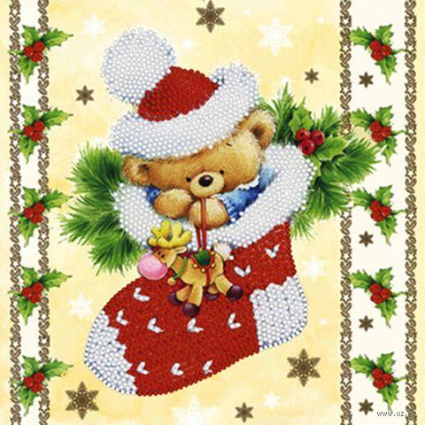 """Вышивка бисером """"Новогодний мишка"""" (250х190 мм) — фото, картинка"""