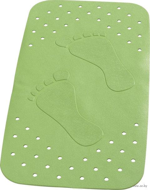 """Коврик для ванной резиновый """"Следы"""" (38х72 см; зеленый) — фото, картинка"""
