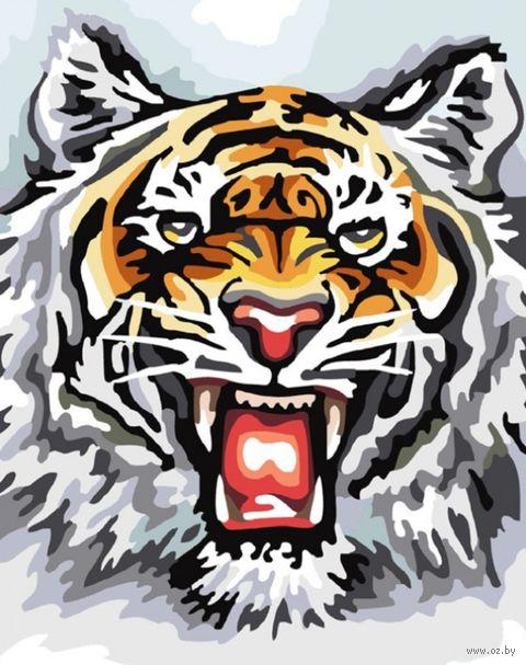 """Картина по номерам """"Свирепый тигр"""" (500х400 мм) — фото, картинка"""