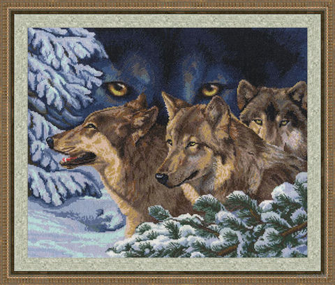 """Вышивка крестом """"Волчий взгляд"""" (350х420 мм) — фото, картинка"""