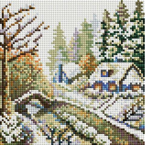 "Алмазная вышивка-мозаика ""Зима"" (200х200 мм) — фото, картинка"