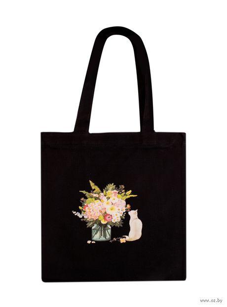"""Сумка-шоппер """"Котик с цветами"""" — фото, картинка"""