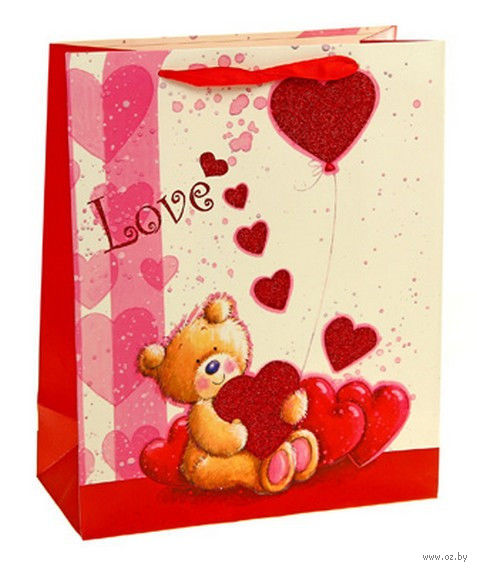 """Пакет бумажный подарочный """"Мишка с шариками из сердец"""" (40х31х12 см; арт. 10533754)"""