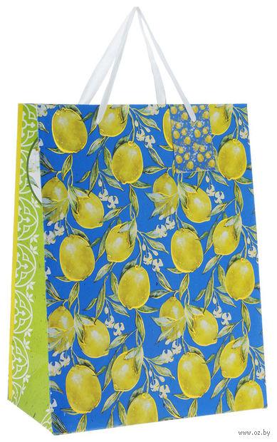 """Пакет бумажный подарочный """"Лимоны"""" (26х32,4х12,7 см; арт. 40879) — фото, картинка"""